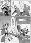 1girl 2boys bleeding blood blood_on_face casing_ejection comic death glasses_on_head grin gun headshot highres higurashi_no_naku_koro_ni injury monochrome multiple_boys neosagi parody rifle scope shell_casing smile sniper_rifle sonozaki_mion sunglasses team_fortress_2 the_sniper translated translation_request weapon
