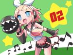 blonde_hair blue_eyes hair_ornament hair_ribbon hairclip kagamine_rin kihiro_fujiwa megaphone musical_note navel open_mouth ribbon short_hair shorts solo vocaloid