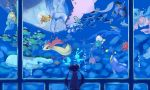 1girl absurdres azumarill basculin blastoise corsola creature dewgong double_bun floatzel frillish from_behind highres jellicent lanturn lumineon manaphy mantine mei_(pokemon) milimilihosi milotic mudkip octillery oshawott phione pokemon pokemon_(creature) pokemon_(game) pokemon_bw2 quagsire remoraid ribbon shorts skirt starmie staryu swampert underwater vaporeon wailord wooper