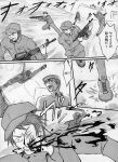 bat bleeding blood comic gun headset highres higurashi_no_naku_koro_ni hitting maebara_keiichi monochrome multiple_boys neosagi open_mouth parody rifle speed_lines team_fortress_2 the_scout translated translation_request weapon