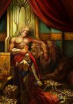 armor blonde_hair crown207 earrings fate/zero fate_(series) gilgamesh goblet gold jewelry lion red_eyes shirtless signature throne treasure vambraces wine