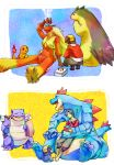 black_hair blastoise blaziken charmander child clothed_pokemon feraligatr gold_(pokemon) gold_(pokemon)_(cosplay) headwear_removed medicine piplup pokemon pokemon_(game) pokemon_hgss sitting sleeping typhlosion