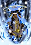 2215 alternate_costume aoki_reika blue_background blue_eyes blue_hair cloak coat cosplay cure_beauty dark_persona hair_tubes halo highres kamen_rider kamen_rider_fourze_(series) long_hair payot precure princess_form_(smile_precure!) smile smile_precure! solo tiara