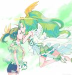 bare_shoulders bike_shorts bow bowtie brooch casual cherico closed_eyes cure_march dress dual_persona eyes_closed forehead_kiss green green_dress green_hair hair_ribbon halo head_wings high_heels jewelry kiss long_hair magical_girl midorikawa_nao pleated_skirt ponytail precure princess_form_(smile_precure!) ribbon shirt shoes short_hair shorts shorts_under_skirt skirt smile_precure! tiara yuri