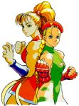 90s back-to-back blonde_hair cammy_white capcom clenched_hands fighting_stance final_fight fingerless_gloves genryuusai_maki gloves japanese_clothes leotard lowres multiple_girls official_art ponytail scar street_fighter street_fighter_iv thong_leotard vambraces