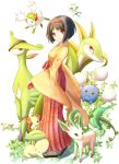 alternate_form bellossom black_hair breasts butterfly celebi chikorita clog_sandals erika_(pokemon) flower gym_leader headband highres holding holding_poke_ball japanese_clothes jumpluff kimono leaf leafeon nekonekonene poke_ball pokemon pokemon_(game) pokemon_frlg red_eyes serperior shaymin short_hair smile virizion