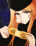 70s blonde_hair cheek_bulge corn eating eyelashes food fur_hat ginga_tetsudou_999 hat highres hirasawa_yui k-on! lafolie maetel oldschool parody star