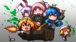 5girls alternate_costume alternate_eye_color animal_ears assault_rifle battlefield_(series) battlefield_3 bird_wings blonde_hair blue_hair brown_hair bulldozer bunny_ears camouflage character_request claymore claymore_(mine) crystal eyebrows flandre_scarlet food fruit glasses green_hair grin gun handgun hat hat_ribbon helmet highres hinanawi_tenshi leaf long_hair long_sleeves military military_uniform mirror multicolored_hair multiple_girls mystia_lorelei open_mouth orange_eyes peach pink_hair purple_hair rabbit_ears red_eyes reisen_udongein_inaba reiuji_utsuho remote ribbon rifle rocket_launcher rpg rpg-7 short_hair side_mirror skid_loader smile sneer tiger_ears tora_(trampjing) toramaru_shou touhou two-tone_hair uniform weapon wings yellow_eyes