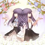 blue_hair bow flower frederica_bernkastel furude_rika hand_holding higurashi_no_naku_koro_ni holding_hands long_hair multiple_girls niso purple_eyes skirt suspenders umineko_no_naku_koro_ni violet_eyes