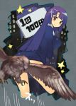 bangs bird blunt_bangs blush cross dress kannagi long_hair nun piaisai purple_hair red_eyes sign smile zange