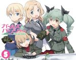 4girls anchovy arm_rest blazer blonde_hair blue_eyes braid brown_eyes churchill_(tank) cover darjeeling drill_hair dvd_cover fang girls_und_panzer green_hair holding jacket kaneda_mitsuko katyusha kay_(girls_und_panzer) leaning long_hair looking_at_viewer m4_sherman military military_uniform military_vehicle miniskirt multiple_girls necktie official_art open_mouth pants photoshop pleated_skirt shirt short_hair sitting skirt smile standing t-34 tank title_drop twin_drills twintails uniform vehicle white_shirt