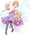alice_margatroid black_legwear blonde_hair blue_eyes boots bow capelet cross-laced_footwear doll dress hair_bow hairband highres jd jd_(bibirijd) lace-up_boots lance pantyhose polearm razor shanghai shanghai_doll short_hair solo touhou weapon
