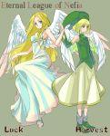 blonde_hair dress ehekatl_of_luck elona god goddess hat kumiromi_of_harvest robe syaxxx title_drop wings