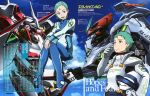 1girl absurdres aqua_hair cloud eureka eureka_seven eureka_seven_(series) eureka_seven_ao fukai_ao hair_ornament hairclip highres magazine_scan mecha newtype nirvash nirvash_neo nirvash_typezero official_art purple_eyes ringed_eyes short_hair sky smile violet_eyes yoshioka_tsuyoshi