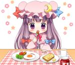 bacon bebelona breakfast butter chibi eating egg food fork jam moon patchouli_knowledge purple_eyes purple_hair solo toast touhou violet_eyes