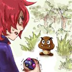 company_connection constricted_pupils creature crossover fangs forest goomba grass holding holding_poke_ball lowres male manmanman master_ball nature nintendo open_mouth poke_ball pokemon pokemon_(game) pokemon_hgss profile red_eyes red_hair redhead silver_(pokemon) silver_hair super_mario_bros. surprised sweatdrop tree trembling