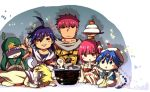 ... 1girl 5boys ? aladdin_(magi) ali_baba_saluja arabian_clothes asphyxiation baggy_pants bandages bittsu_(v1tz) blonde_hair blue_eyes blue_hair blush bowl bracelet braid breastplate brown_eyes butterfly chibi chopsticks eating faceless faceless_male flute fly food fruit insect instrument ja'far jewelry keffiyeh long_hair magi_the_labyrinth_of_magic masrur mochi morgiana multiple_boys purple_hair red_eyes redhead sarashi sash short_hair side_ponytail sinbad_(magi) single_braid snake strangling vest wagashi white_hair white_snake