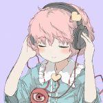 blush bust closed_eyes eyes_closed headphones heart hozumiare komeiji_satori pink_hair purple_background red_eye rough short_hair simple_background smile solo third_eye touhou