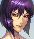 close-up face ghost_in_the_shell gradient gradient_background kusanagi_motoko lieqi_hun lips portrait purple_hair red_eyes short_hair smile solo
