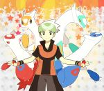 absurdres alternate_color bandana bandanna black_hair child fingerless_gloves gloves green_eyes hat highres holding holding_poke_ball latias latios male poke_ball pokemon pokemon_(game) pokemon_rse pumpkinpan shiny_pokemon smile yuuki_(pokemon)