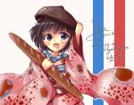 baguette beret black_hair bread food hat ikoku_meiro_no_croisee japanese_clothes kimono short_hair sora_from_france yune_(ikoku_meiro_no_croisee)