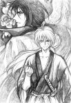 bud_(korovsme) cape graphite_(medium) hiko_seijuurou himura_kenshin japanese_clothes kimono long_hair male monochrome multiple_boys ponytail rurouni_kenshin sword traditional_media weapon