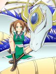 boots brown_hair china_dress chinese_clothes dragon dragon_quest dragon_quest_iii eastern_dragon fighter_(dq3) fingerless_gloves gloves green_eyes hair_ribbon highres kairyuuha ribbon scarf short_twintails smile twintails