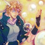2boys blonde_hair bracelet bubble caesar_anthonio_zeppeli chibi facial_mark feathers fingerless_gloves gloves glowing glowing_eyes green_jacket hahihu1782 headband jewelry jojo_no_kimyou_na_bouken joseph_joestar_(young) miniboy multiple_boys purple_hair