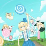 :d =_= alice_margatroid alice_margatroid_(young) animal_ears blonde_hair blue_eyes blue_hair bow candy cat_ears cloud clouds cotton_candy flower hair_bobbles hair_bow hair_ornament hair_ribbon hairband hat hat_bow hbkhk2007 highres lollipop long_hair luize mai_(touhou) maid maid_headdress multiple_girls open_mouth parody pyroland ribbon shinki short_hair side_ponytail silver_hair sky smile suspenders team_fortress_2 touhou tree wings yuki_(touhou) yumeko