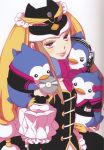 absurdres animal_hat bare_shoulders bird black_legwear boots brown_hair cd elbow_gloves gloves hat headphones highres hmv hoshino_lily long_hair mawaru_penguindrum official_art penguin penguin_1-gou penguin_2-gou penguin_3-gou pink_eyes princess_of_the_crystal promotional_art scan takakura_himari thigh-highs thigh_boots thighhighs