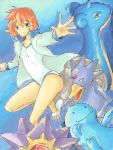 blue_background blue_eyes golduck jacket kasumi_(pokemon) lapras misty_(pokemon) one-piece_swimsuit orange_hair pokemon pokemon_(game) pokemon_hgss quagsire sandals short_hair smile starmie swimsuit tegaki