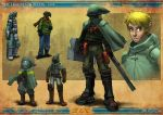 1boy alternate_costume armor belt_pouch blonde_hair cape concept_art gas_mask gauntlets greaves green_eyes helmet link pointy_ears post-apocalypse pouches scarf sean_ng sheath sheathed shield shoulder_pads solo sword the_legend_of_zelda thigh_pouch visor weapon