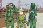 1girl 2boys abe_takakazu assault_rifle blue_eyes camouflage child empty_eyes exoskeleton female gas_mask gloves grey_hair gun handgun kangaroo_(artist) kuso_miso_technique load_bearing_vest male multiple_boys pistol ponytail power_lines rifle seva_suit stalker_(game) train vss_vintorez weapon zombie