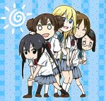 black_hair blonde_hair blue_eyes brown_hair c_(neta) choo_choo_train closed_eyes double_bun eyes_closed glasses hair_ornament hairclip hirasawa_ui k-on! long_hair lowres multiple_girls nakano_azusa okuda_nao open_mouth saitou_sumire school_uniform short_hair short_sleeves smile suzuki_jun sweatdrop twintails v very_long_hair