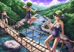 arm_support bare_legs bare_shoulders barefoot blue_eyes blue_hair bridge brown_hair can dark_haired_kappa forest glasses glasses_kappa hair_bobbles hair_ornament hanging_bridge holding jumping kappa_mob kawashiro_nitori kurione_(zassou) lying multiple_girls nature outstretched_arms pocari_sweat ponytail product_placement river scenery school_swimsuit short_hair soda_can swimsuit tent touhou twintails water