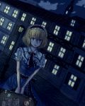 alice_margatroid blonde_hair blue_eyes building capelet city cloud clouds dress frills hairband hbkhk2007 highres lamppost night postage_stamp ribbon sash shanghai_doll short_hair smile solo street suitcase touhou window