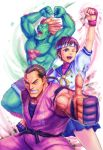 2boys blanka brown_eyes brown_hair capcom fingerless_gloves gloves green_skin hibiki_dan highres kasugano_sakura masa0321 multiple_boys muscle open_mouth orange_hair school_uniform serafuku shorts skirt street_fighter street_fighter_zero street_fighter_zero_ii thumbs_up