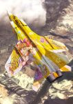 airplane cloud clouds fighter_jet flying from_above hair_ornament idolmaster idolmaster_cinderella_girls itasha jet mig-31 moroboshi_kirari photo_background realistic star_hair_ornament yuukou