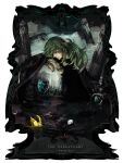 cape crown dark dark_persona emblem english frame green_hair hydreigon long_hair male n_(pokemon) pokemon pokemon_(game) pokemon_bw red_eyes scepter sin_(hitonatsu) solo team_plasma wristband zekrom