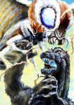 antennae black_eyes blue_eyes claws giant_monster glowing glowing_eyes glowing_mouth godzilla godzilla_(series) insect kaijuu kamenn mandibles monster moth mothra no_humans open_mouth scales sharp_teeth touhou wings