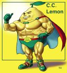 c.c._lemon_(character) cape character_name food fruit gloves lemon male manly matataku muscle personification shoes signature smile sneakers solo thumbs_up wink yellow