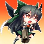 >:o arm_cannon black_hair blush_stickers cape chibi gradient gradient_background kimagure_ringo long_hair outline red_eyes reiuji_utsuho solo touhou weapon wings