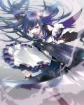 blue_eyes blue_hair boots detached_sleeves dress gradient gradient_background gun hair_ornament hairclip holding long_hair open_mouth original scythe solo tears weapon yamiko yamiya