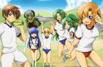 6+girls basin blonde_hair blue_eyes blue_hair blue_sky blush_stickers brown_hair buruma cloud clouds compacthuman detached_sleeves fang floating furude_rika green_eyes green_hair grin gym_uniform hairband half_updo hanyuu highres higurashi_no_naku_koro_ni horns houjou_satoko japanese_clothes long_hair maebara_keiichi miko mountain multiple_girls open_mouth orange_hair ponytail purple_eyes purple_hair ribbon rumia_(compacthuman) ryuuguu_rena short_hair short_sleeves shorts siblings sky smile socks sonozaki_mion sonozaki_shion standing sweat thigh_gap thighs transparent twins violet_eyes water water_gun water_hose wink