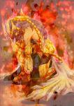 1boy armor blood cape full_armor long_hair male purple_hair saint_seiya scorpio_milo solo