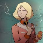 70s 80s blonde_hair blowing_smoke blue_eyes cigarette cigarette_box gundam logo military military_uniform mobile_suit_gundam neo_zeon nippori_honsha oldschool out_of_character sayla_mass science_fiction short_hair smoking solo uniform zeon