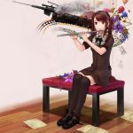 ball balloon braid card chair flower flute gun handgun highres instrument jigsaw leaf letter mojuke original plant red_eyes red_hair redhead rifle short_sleeves side_braid single_braid sitting smoke solo star surreal train twintails weapon