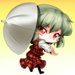 blush_stickers chibi gradient gradient_background green_hair holding kazami_yuuka kimagure_ringo outstretched_arm outstretched_hand plaid red_eyes short_hair solo touhou umbrella
