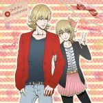 1girl alternate_costume barnaby_brooks_jr blonde_hair casual dual_persona genderswap glasses green_eyes jacket kkkrrrooo pantyhose red_jacket tiger_&_bunny v