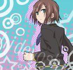 1boy bad_id baka_to_test_to_shoukanjuu brown_hair hair_ornament hairpin kinoshita_hideyoshi looking_back necktie sasayama_panda short_hair